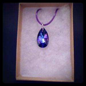 Evening Purple Crystal Teardrop Necklace